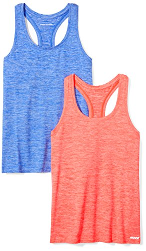 Amazon Essentials 2-Pack Tech Stretch Racerback Tank Top Athletic-Shirts, Fiery Coral Cobalt Heather, US (EU XS-S)