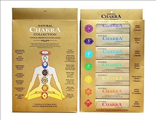 Ayurvédico : Colección Natural 7 Chakra - Varillas de Incienso Naturales y de Primera Calidad para Cuerpo Humano, 7 Paquetes DE 15 Varillas Cada uno.