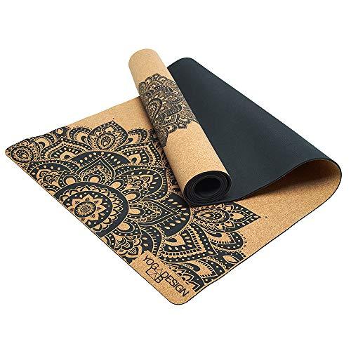 Yoga Design Lab | La Esterilla de Yoga de Corcho | Eco Ideal para Hot Yoga, Bikram, Ashtanga, Entrenamientos con Sudor | Calidad de Estudio | ¡Incluye Correa de Transporte! (Mandala Black, 3.5mm)