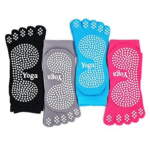 PUTUO Mujer Calcetines Pilates Yoga Antideslizantes, Mujer Cinco Calcetines de los Dedos para Pilates Yoga Danza Gimnasio Deportes Artes Marciales, 4 pares